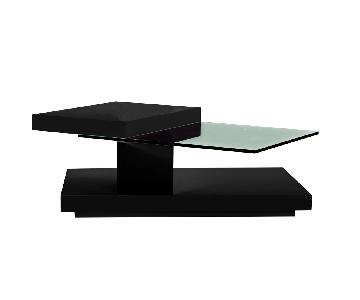 Modern Coffee Table in Black Gloss Finish w/ Swivel Glass To