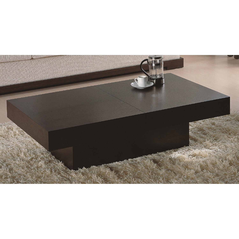 Modern Rectangular Coffee Table in Wenge Finish w/ Hidden St-1