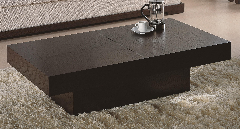 Modern Rectangular Coffee Table in Wenge Finish w/ Hidden St
