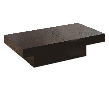 Modern Rectangular Coffee Table in Wenge Finish w/ Hidden St