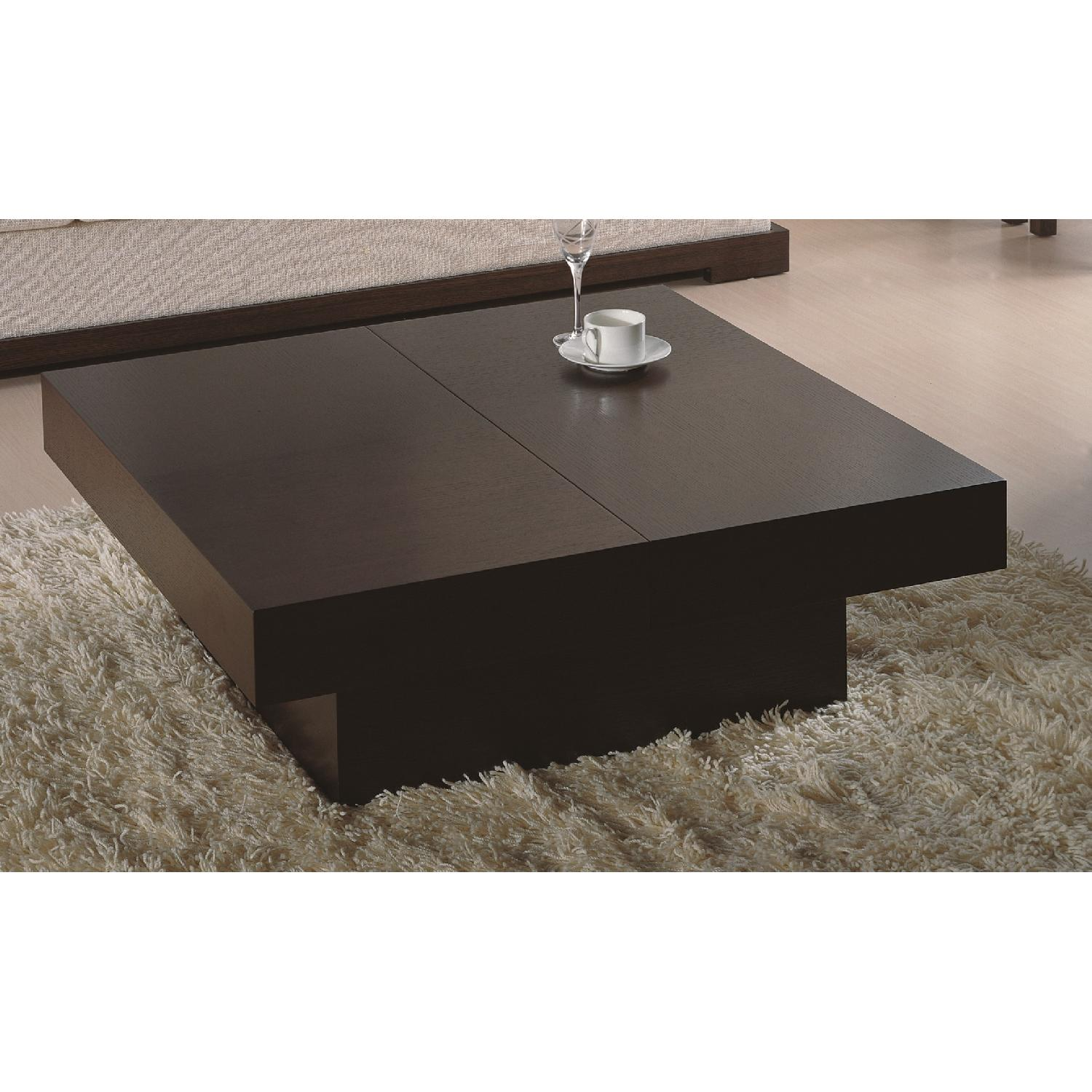 Modern Square Coffee Table in Wenge Finish w/ Hidden Storage-0