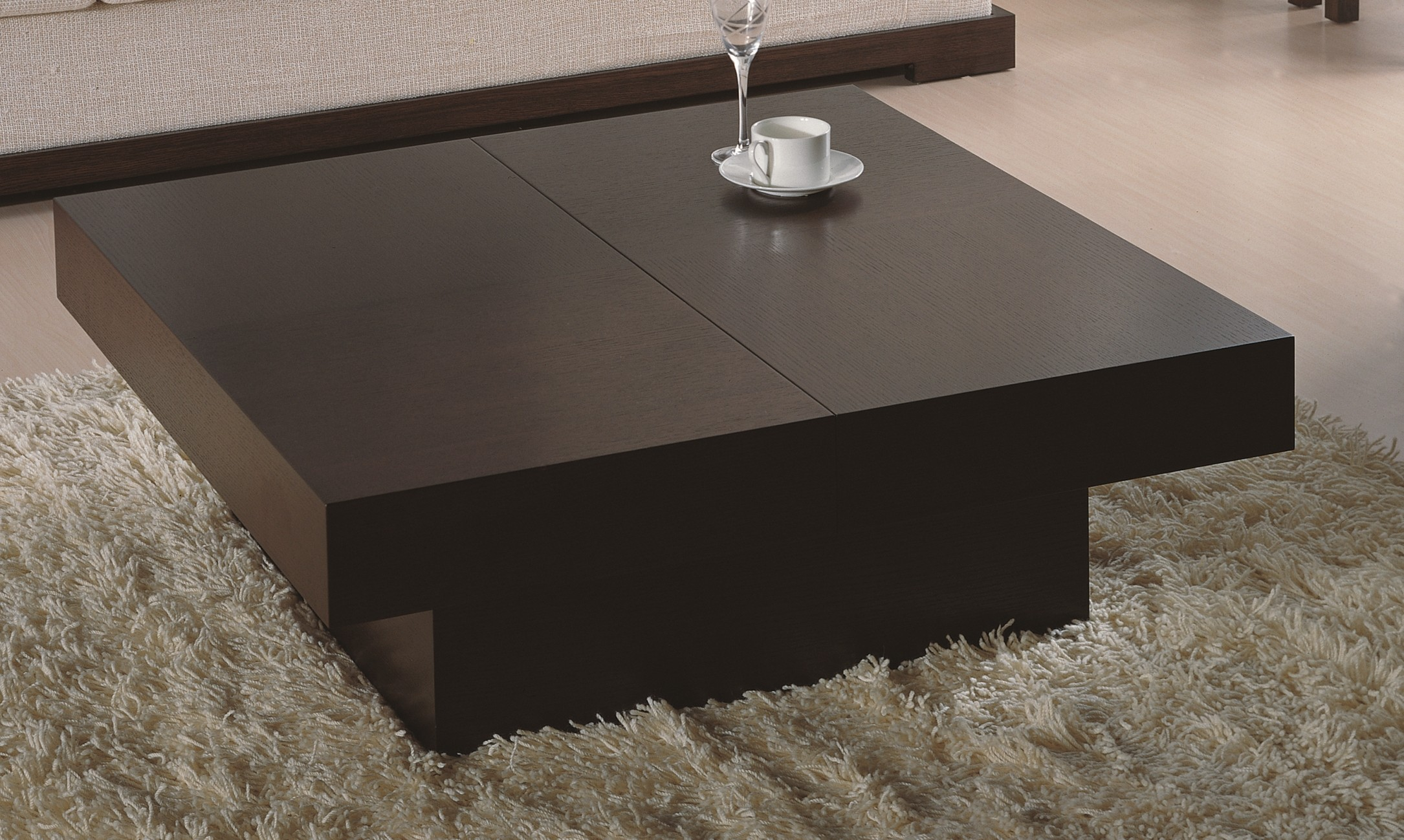 Modern Square Coffee Table in Wenge Finish w/ Hidden Storage