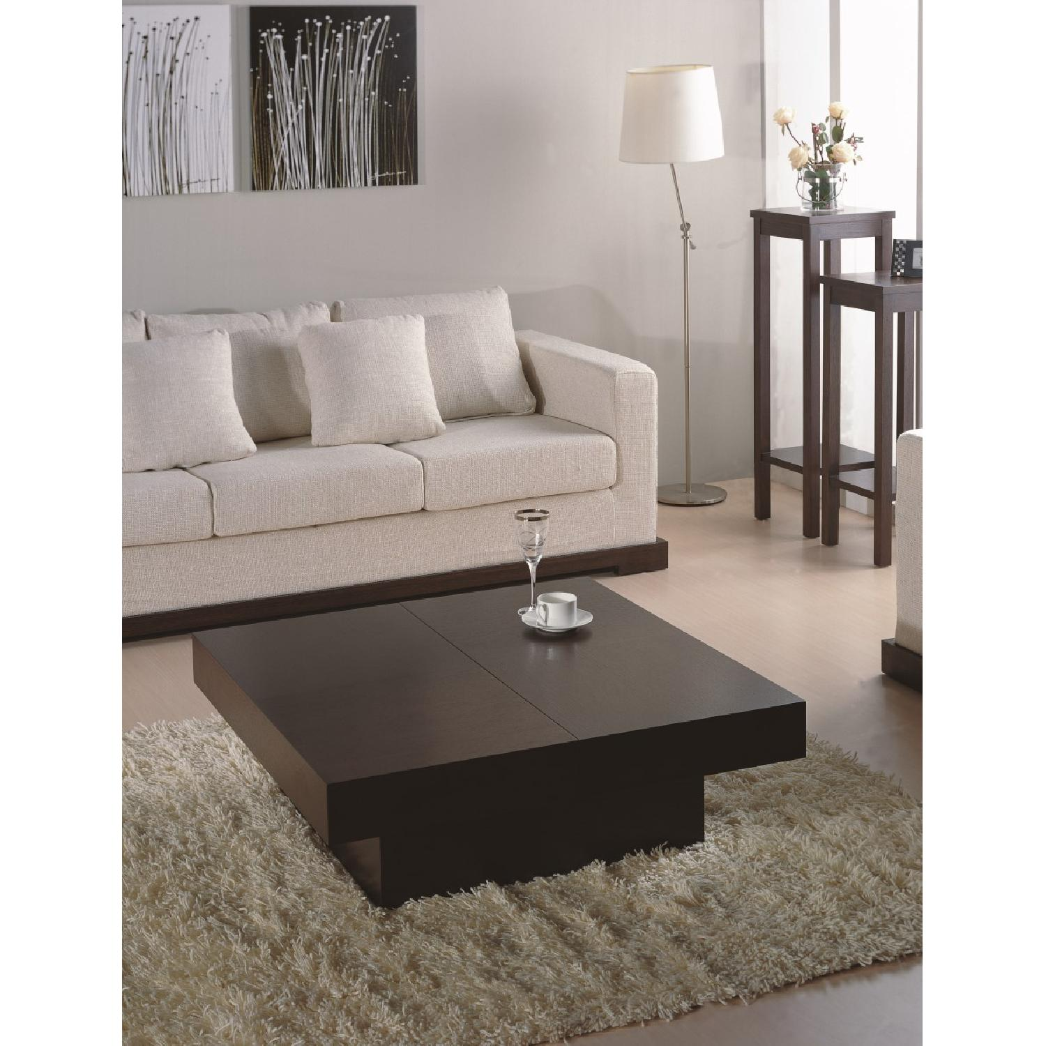 Modern Square Coffee Table in Wenge Finish w/ Hidden Storage-2