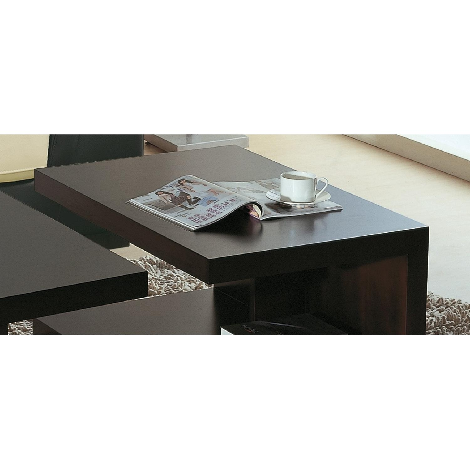 Contemporary 2-Part Coffee Table Set in Wenge Finish-0