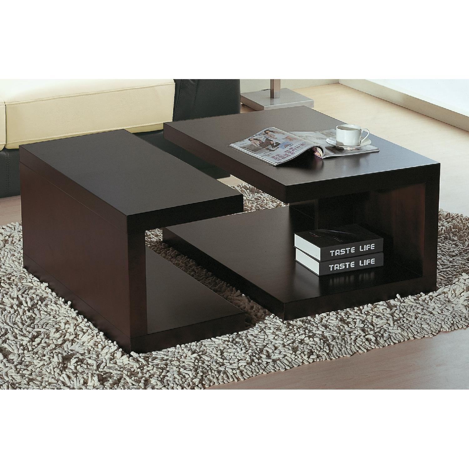 Contemporary 2-Part Coffee Table Set in Wenge Finish-1