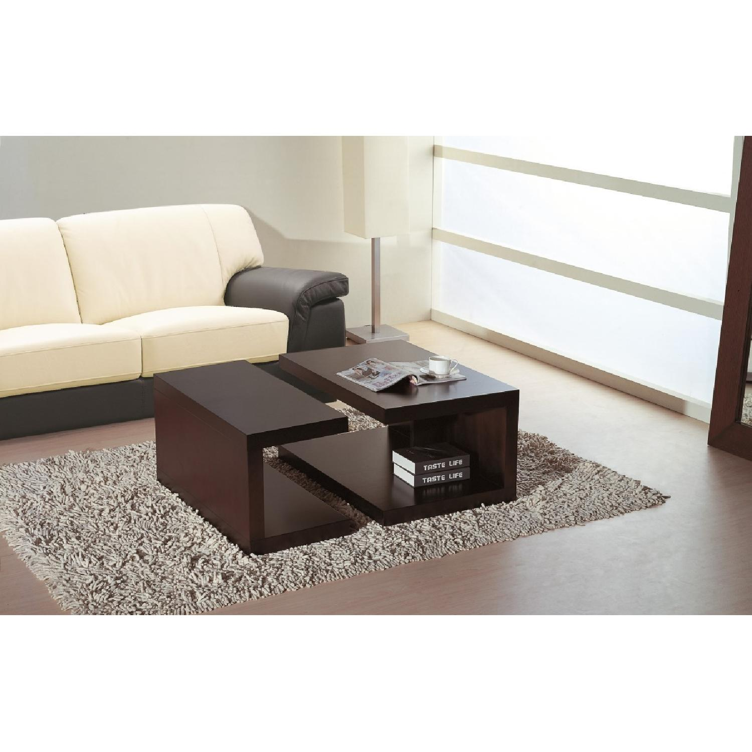 Contemporary 2-Part Coffee Table Set in Wenge Finish-2