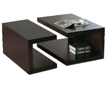Contemporary 2-Part Coffee Table Set in Wenge Finish