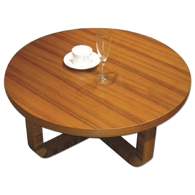 Mid Century Style Round Coffee Table In Teak Finish Aptdeco
