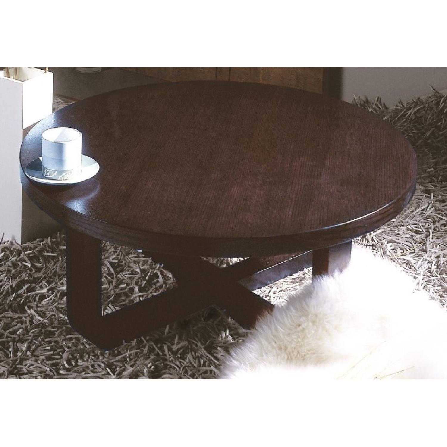 Mid Century Style Round Coffee Table in Wenge Finish-0