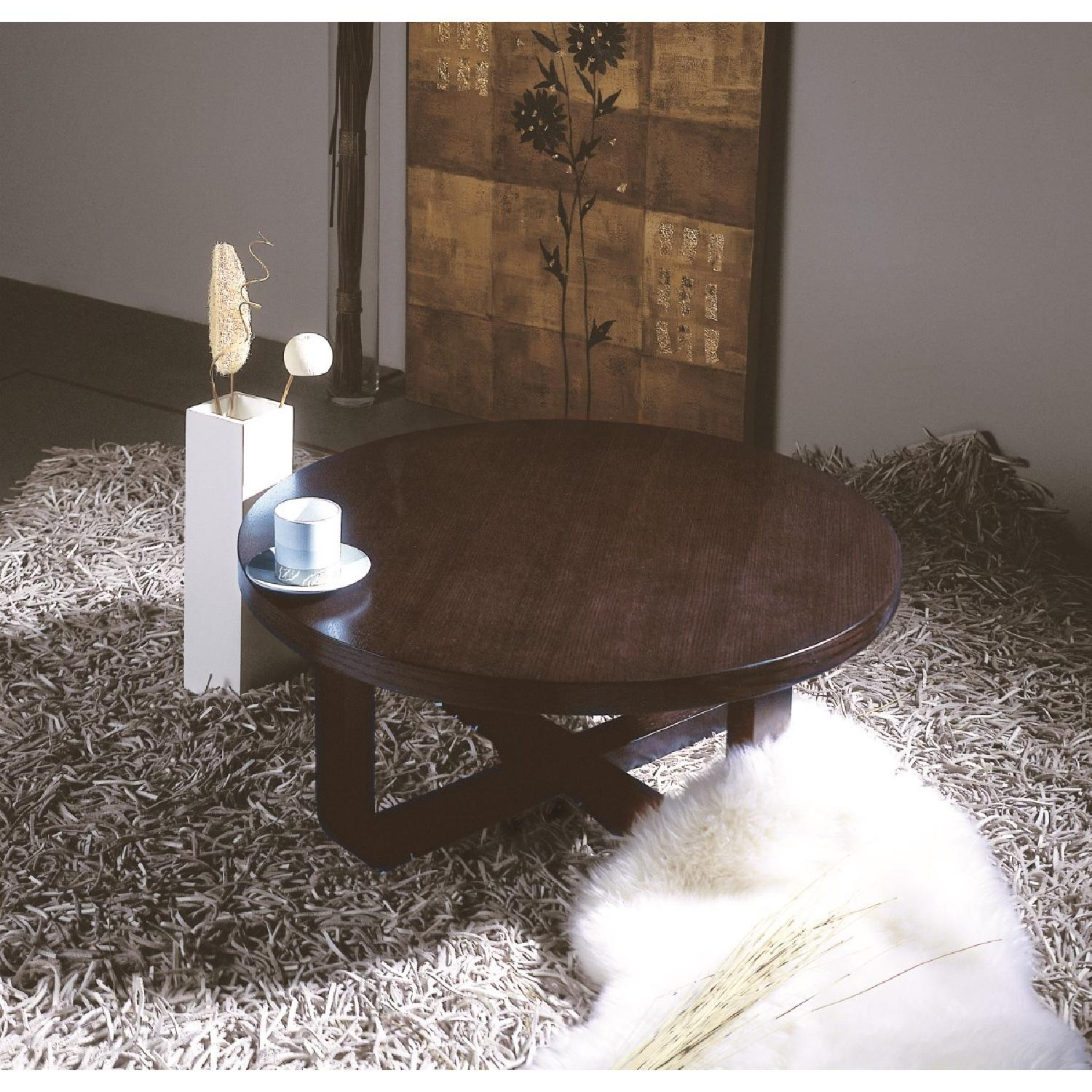 Mid Century Style Round Coffee Table in Wenge Finish-1