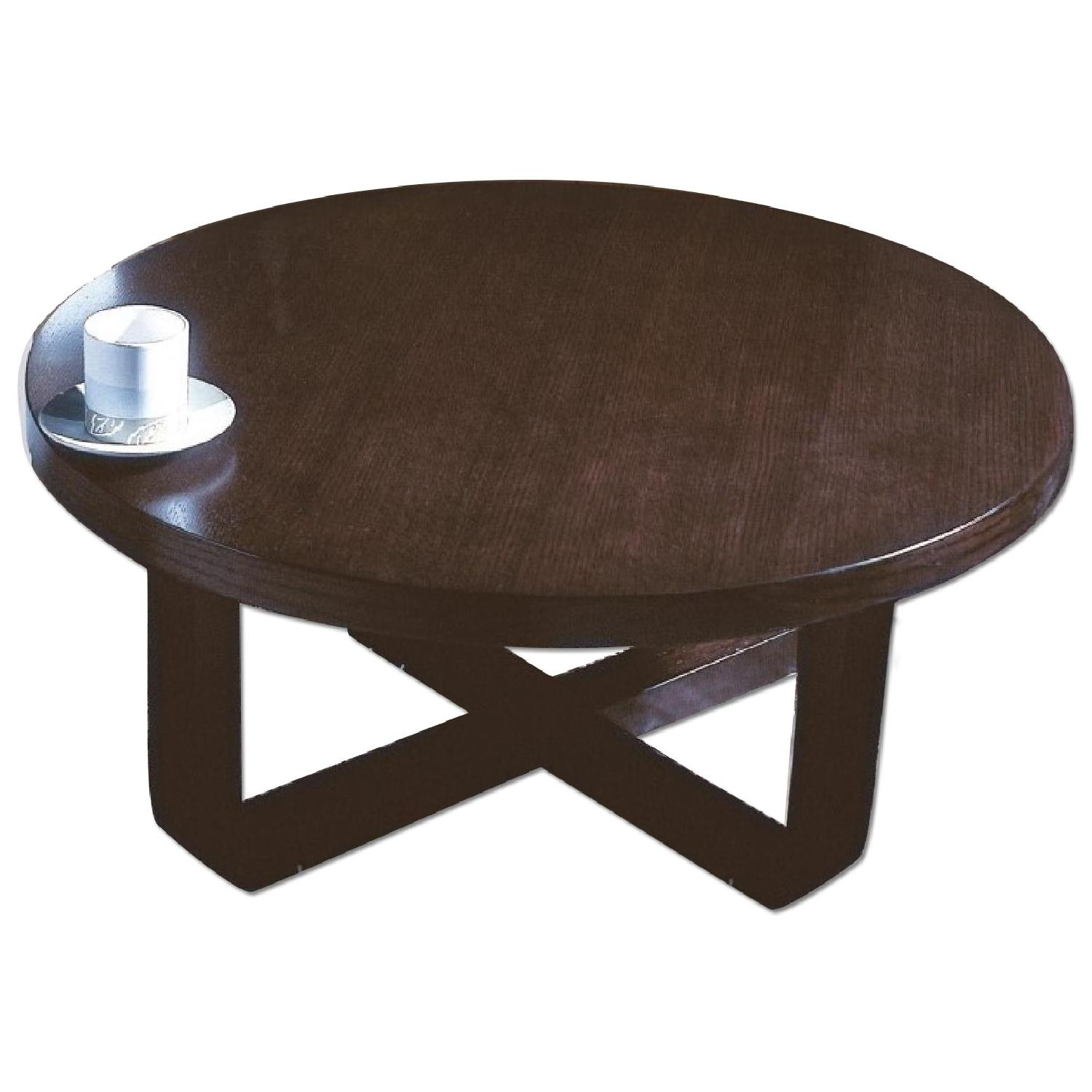 Cb2 Mid Century Coffee Table: Mid Century Style Round Coffee Table In Wenge Finish