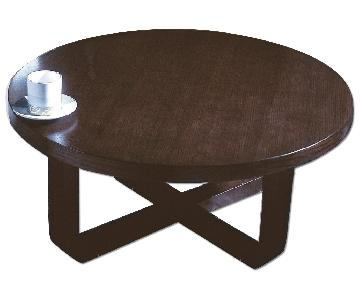 Mid Century Style Round Coffee Table in Wenge Finish