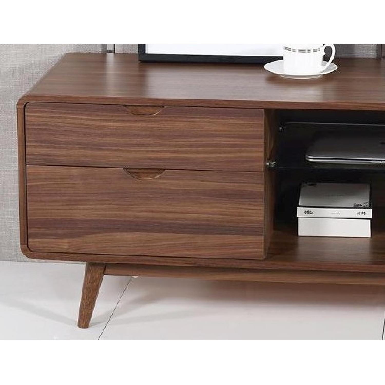 Mid Century Style TV Stand in Walnut Finish w/ 4 Drawers & G-0
