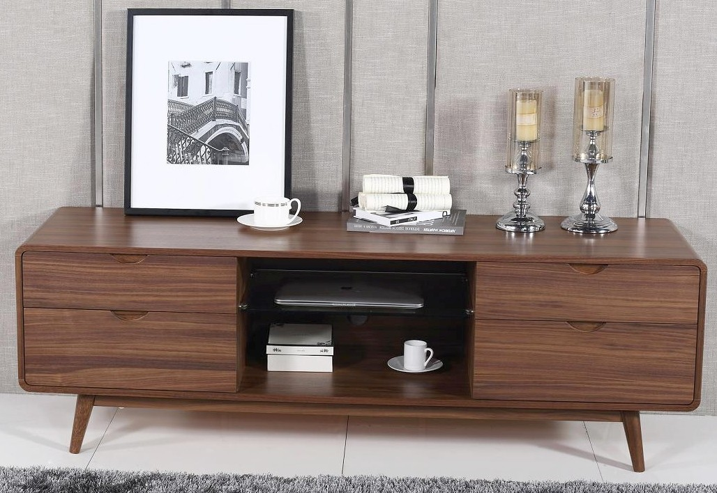 Mid Century Style TV Stand in Walnut Finish w/ 4 Drawers & G
