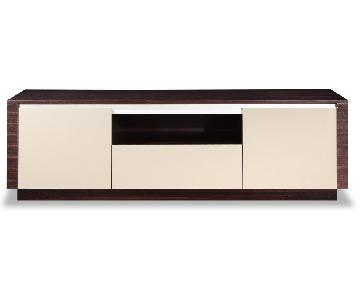 Modern Style TV Sideboard in 2-Tone Wenge & Grey Gloss Finis