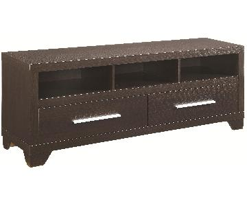 Modern TV Stand in Cappuccino Finish w/ 2 Drawers & 3 Media