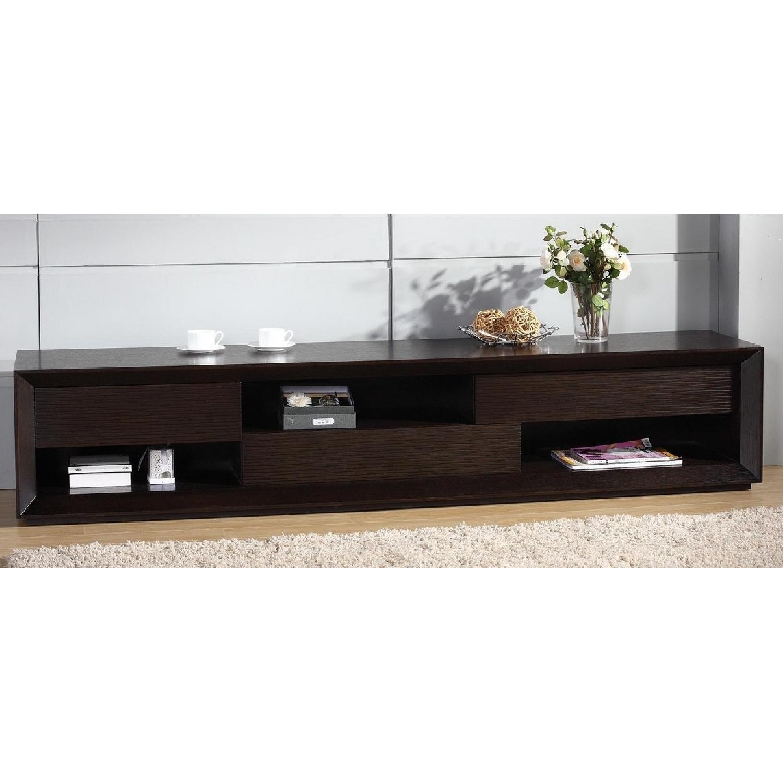 Modern TV Console w/ Asymmetric Drawers & Shelves-0