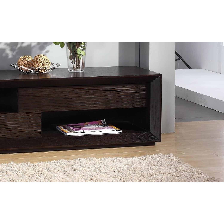 Modern TV Console w/ Asymmetric Drawers & Shelves-2