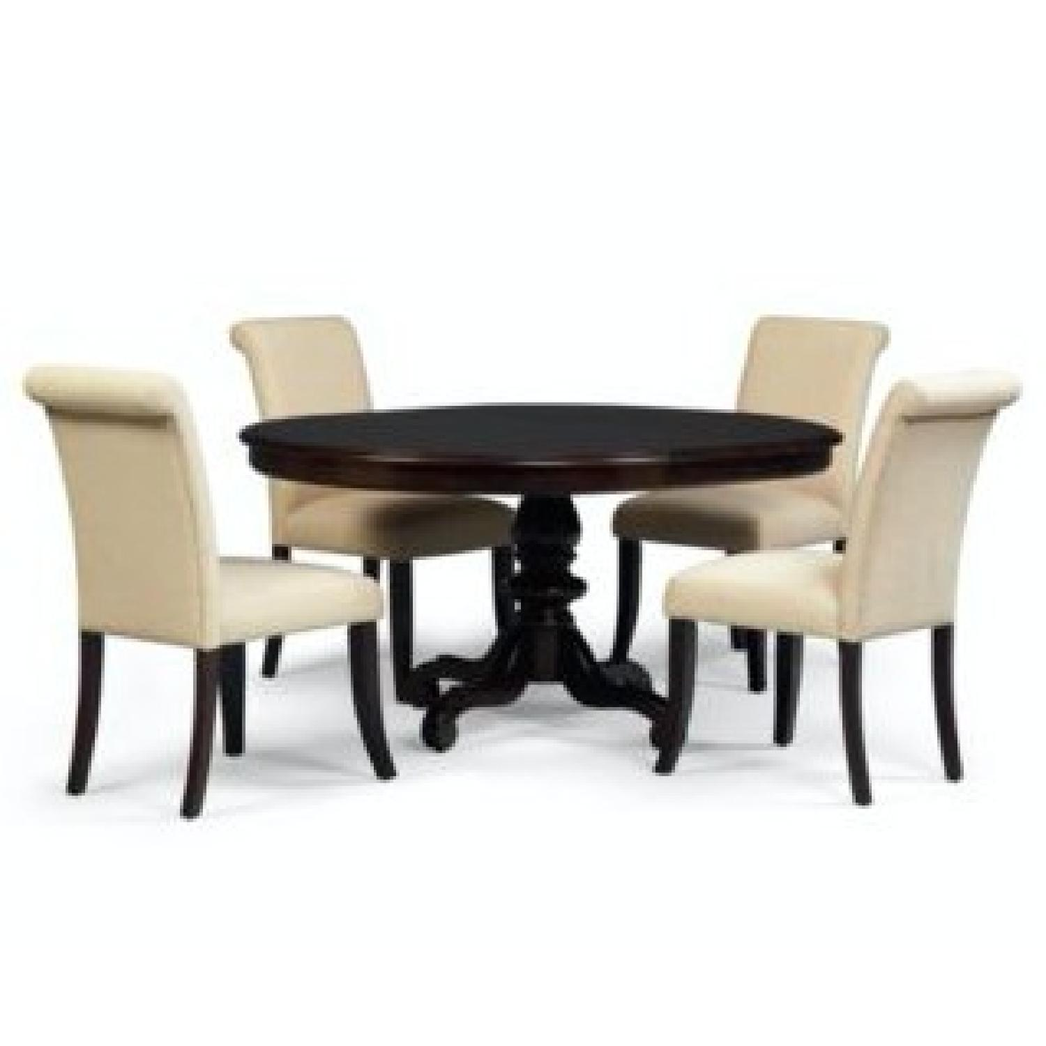 Macy S Bradford Round Dining Table W 6 Upholstered Chairs Aptdeco