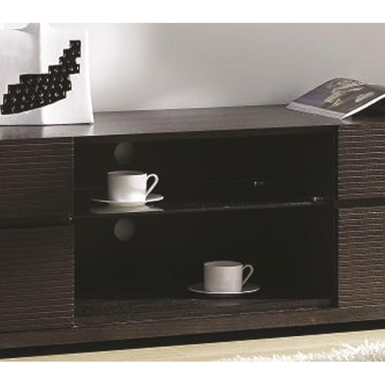 Modern TV Stand w/ 4 Etch Face Drawers & Center Glass Shelf