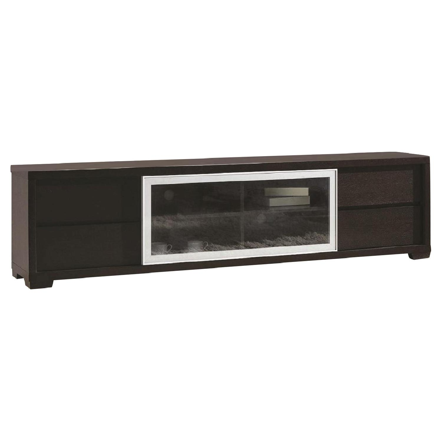 TV Stand in Wenge Finish w/ 4 Drawers & Middle Shelves & Covered by A Sliding Glass Door