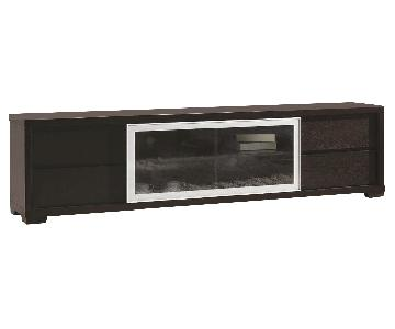TV Stand in Wenge Finish w/ 4 Drawers & Middle Shelves & Cov