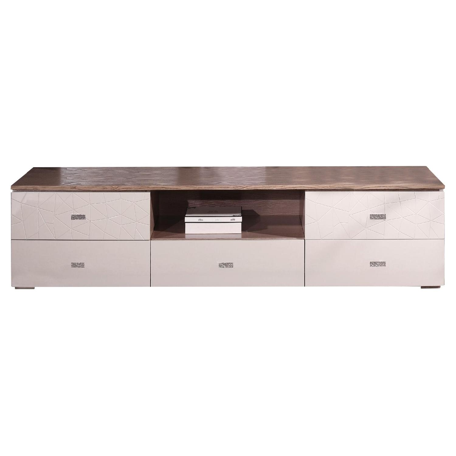 Modern 5 Drawer TV Stand w/ Center Shelf in High Gloss Beige & Acacia Top
