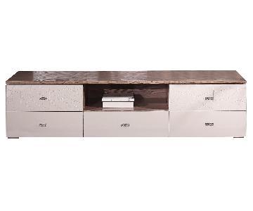 Modern 5 Drawer TV Stand w/ Center Shelf in High Gloss Beige