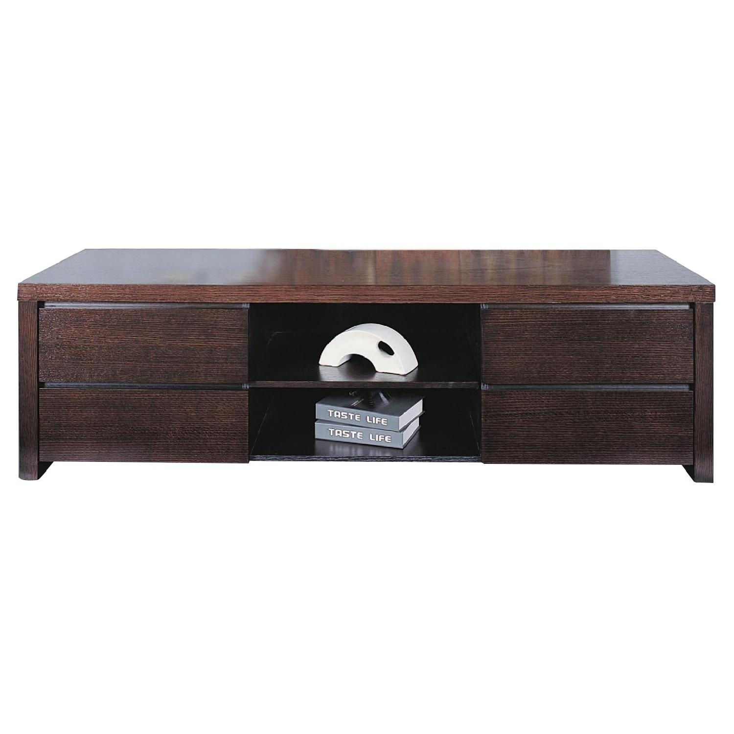Modern TV Sideboard w/ 4 Drawers & Center Shelf in Wenge Fin