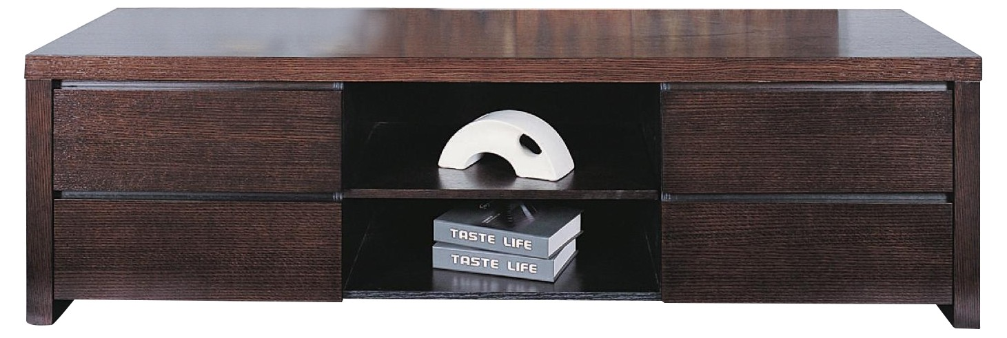 Modern TV Sideboard w/ 4 Drawers & Center Shelf in Wenge Fin
