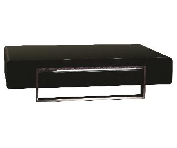 Modern Coffee Table in High Gloss Black Finish w/ Storage Dr