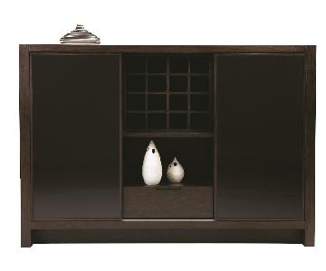 Modern Sideboard in Wenge Finish w/ 2 Black Glass Sliding Do