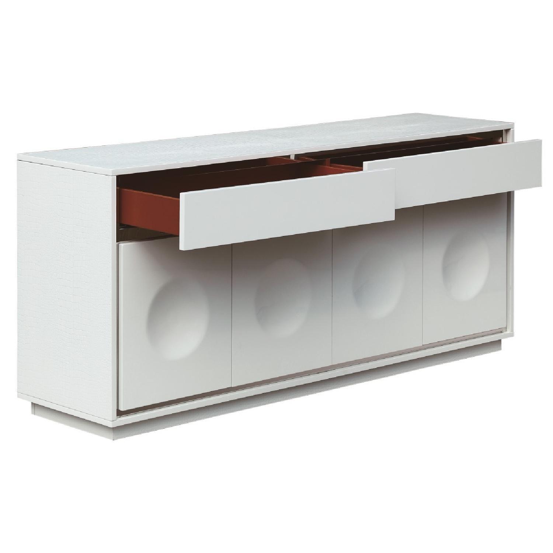 Modern Sideboard in High Gloss White Finish With Crocodile P