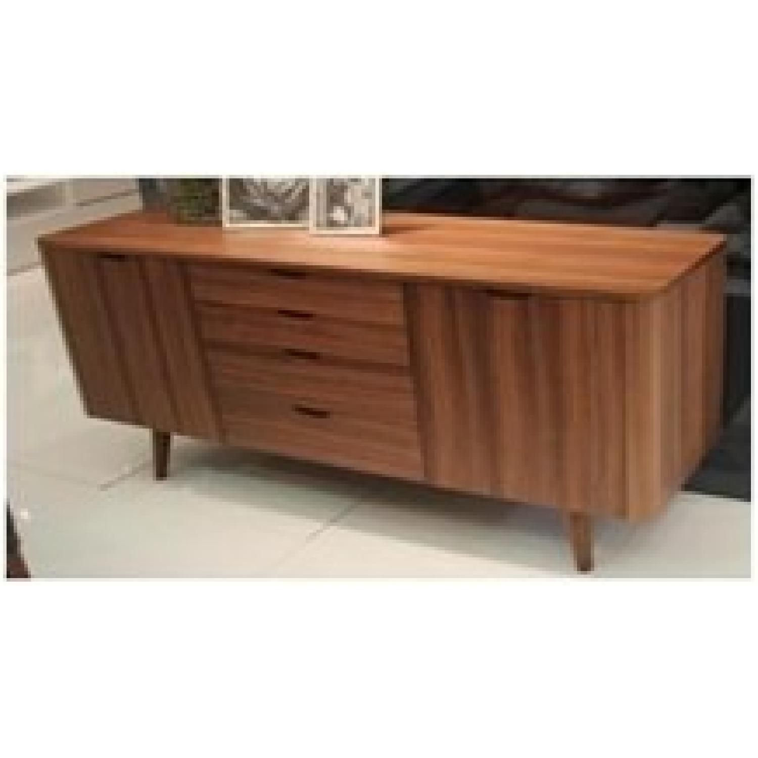 Raymour And Flanigan Dining Room Sets Mid Century Style Buffet Sideboard In Walnut Finish W