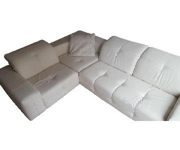 Natuzzi White Leather Sectional Sofa
