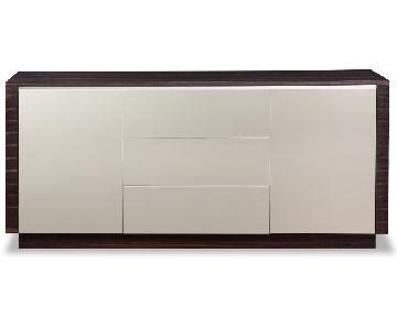 Modern Sideboard in 2-Tone Wenge Finish w/ Grey Gloss Finish
