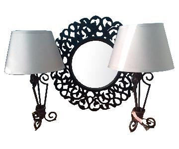 2 Wrought-Iron Lamps + Mirror
