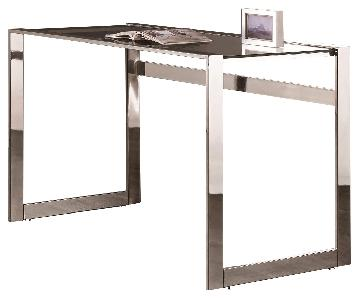 Modern Sleek Writing Desk w/ Chrome Metal Frame & Glass Top