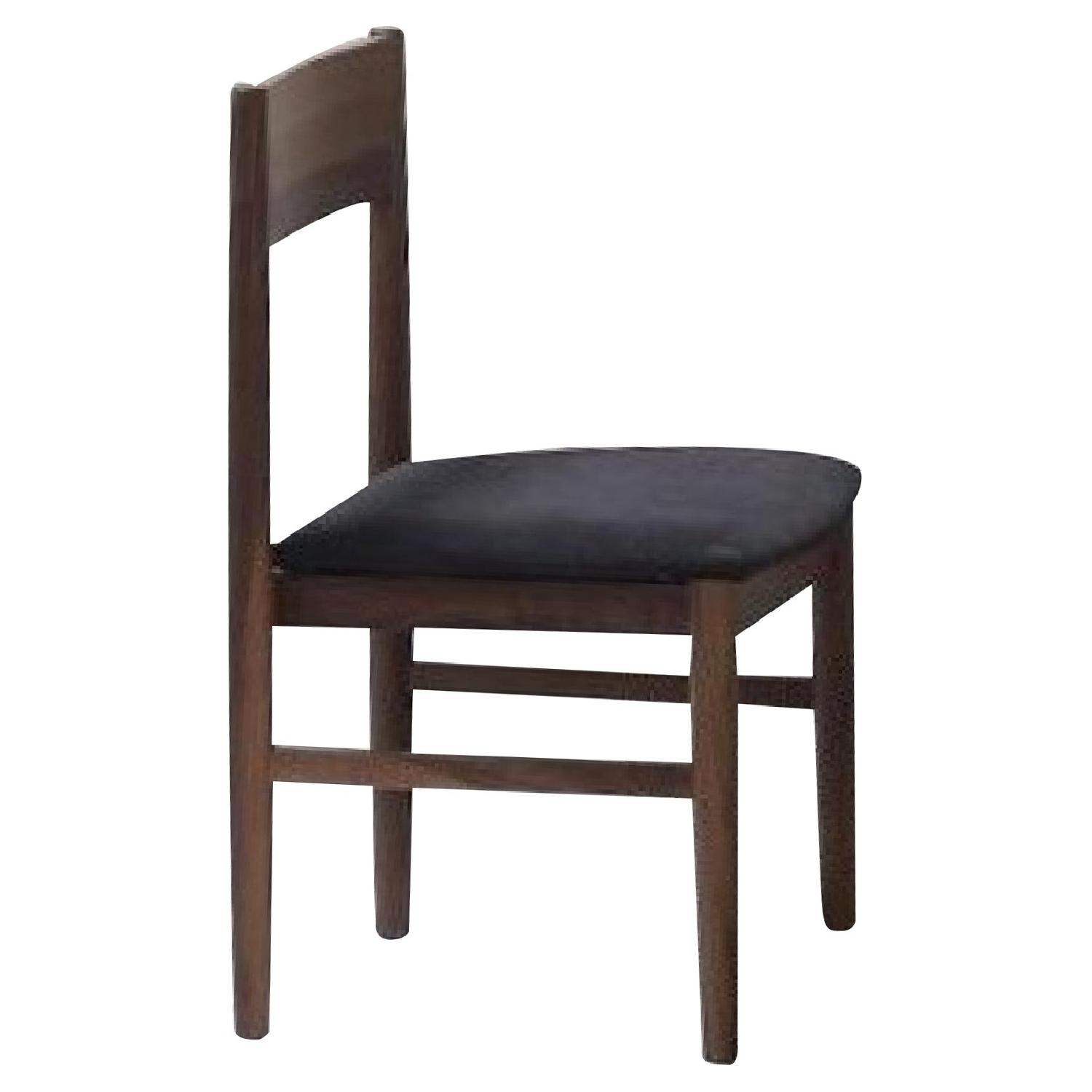 Mid Century Style Dining Chair In Walnut Finish w/ Padded Se