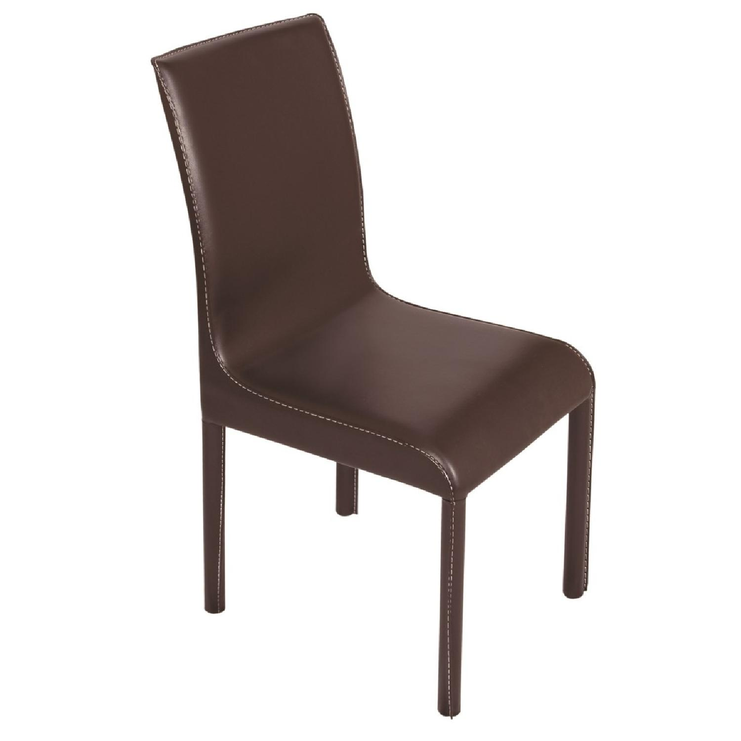 Modern Dining Chair w/ Metal Frame Upholstered in Brown ...