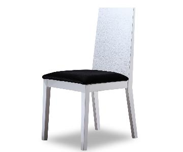 Modern Style Dining Chair in White Lacquer w/ Crocodile Patt