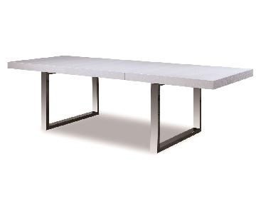 Modern Expandable Dining Table in White Lacquer w/ Crocodile