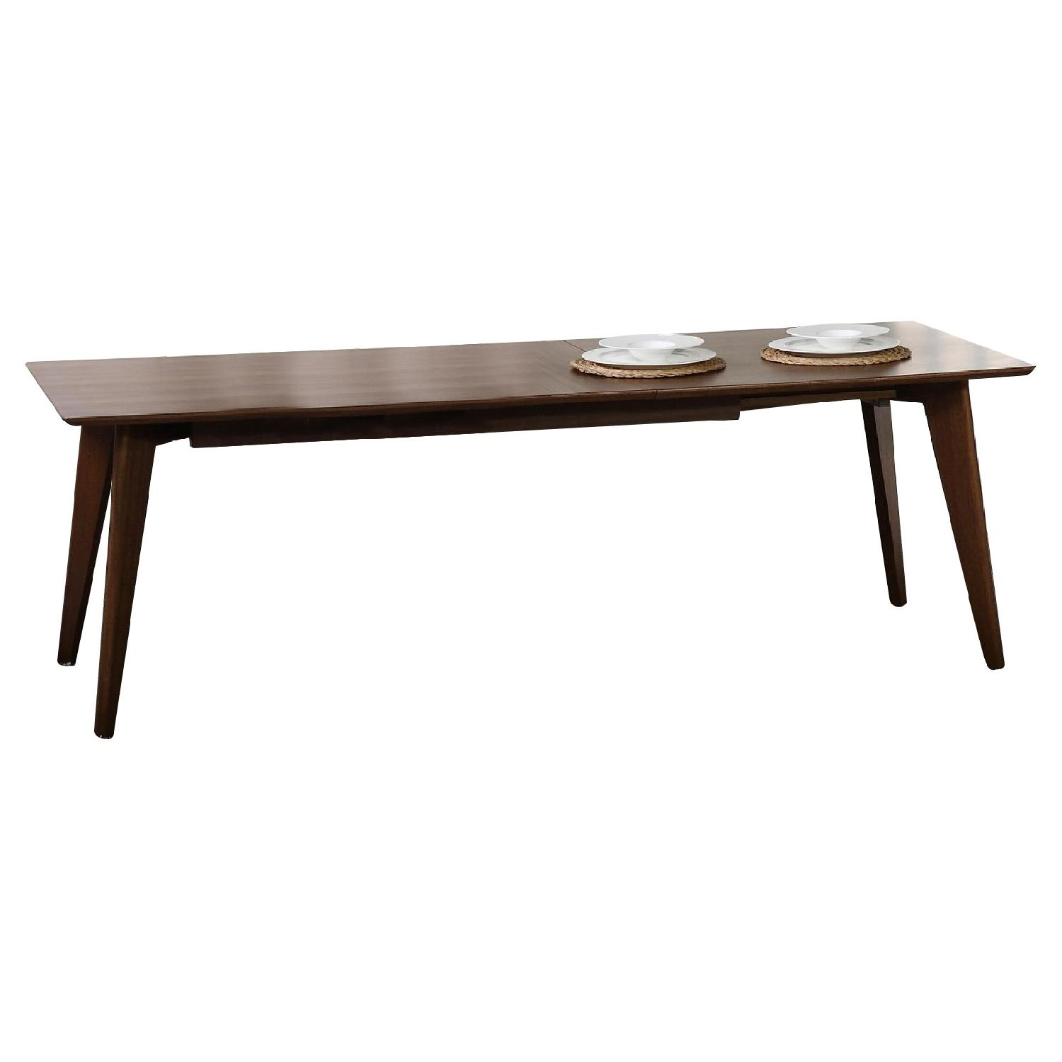 mid century style expandable dining table in walnut aptdeco. Black Bedroom Furniture Sets. Home Design Ideas