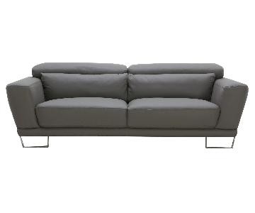 Leather Sofa w/ Motion Back Feather Lumbar Boaster & Stainle