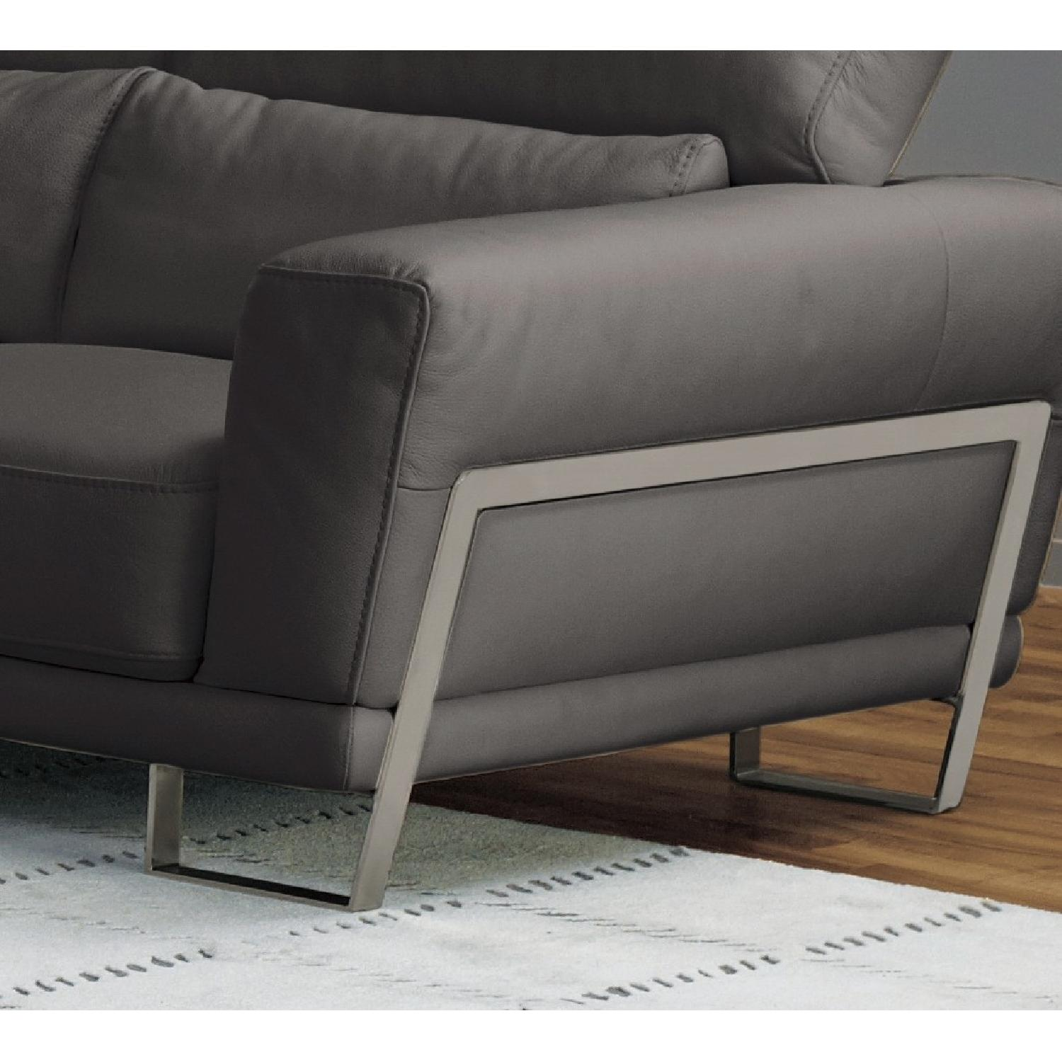 Leather Loveseat w/ Motion Back Feather Lumbar Boaster & Sta-1