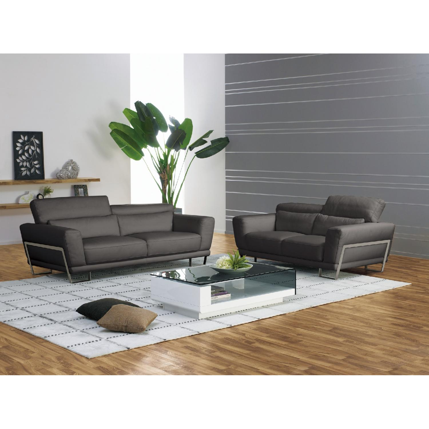 Leather Loveseat w/ Motion Back Feather Lumbar Boaster & Sta-2