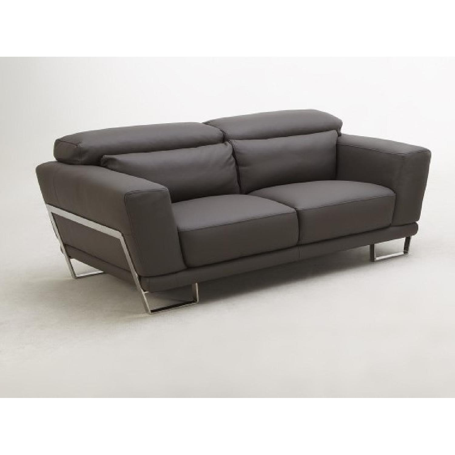 Leather Loveseat w/ Motion Back Feather Lumbar Boaster & Sta-3
