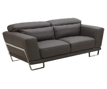 Leather Loveseat w/ Motion Back Feather Lumbar Boaster & Sta