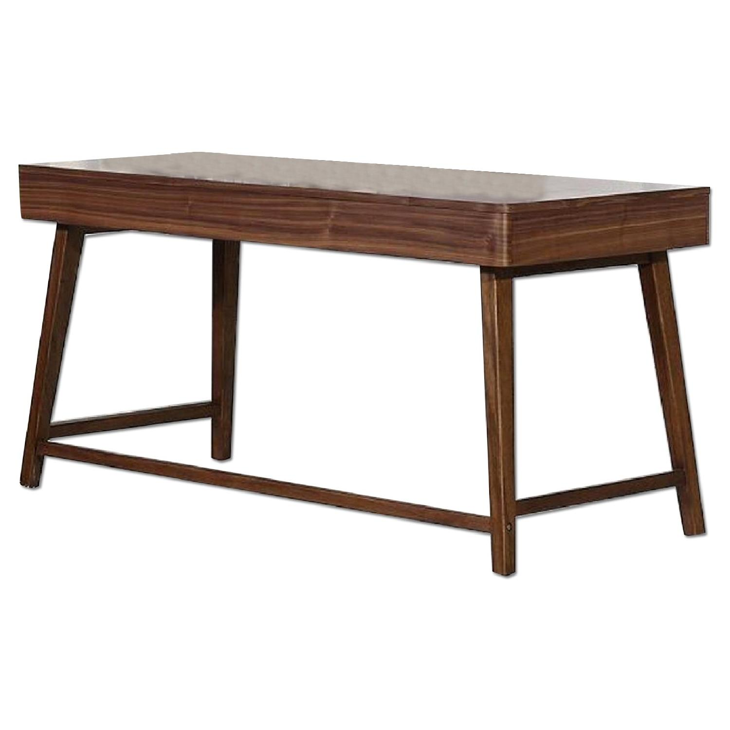 Mid Century Style Writing Desk in Walnut Finish w/ 2 Drawers - image-0