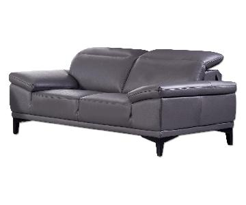 Modern-Style Loveseat with Adjustable Headrests in Dark Grey Top Grain Leather w/ Matching Faux Leather